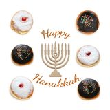 jewish holiday Hanukkah image with traditional doughnuts isolated and menorah & x28;traditional candelabra& x29; on white. Royalty Free Stock Photography