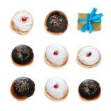 Jewish holiday Hanukkah image with traditional doughnuts isolated on white. Jewish holiday Hanukkah image with traditional doughnuts isolated on white Stock Image