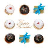 Jewish holiday Hanukkah image with traditional doughnuts isolated on white. Jewish holiday Hanukkah image with traditional doughnuts isolated on white Stock Photography