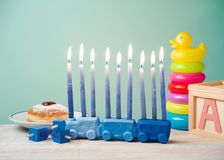 Jewish holiday Hanukkah for kids with toys Stock Image