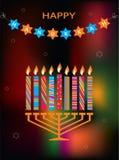 Jewish holiday Hanukkah with menorah on abstract Stock Photography