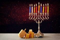 Jewish holiday Hanukkah with menorah Stock Images