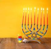 jewish holiday Hanukkah with menorah (traditional Candelabra) Stock Image