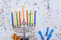 Jewish holiday Hanukkah with menorah traditional Candelabra. Image of jewish holiday Hanukkah with menorah traditional Candelabra Jewish holiday, Holiday symbol Royalty Free Stock Photography