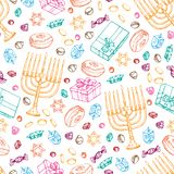 Jewish holiday Hanukkah seamless pattern. Set of traditional Chanukah symbols isolated on white - dreidels, sweets. Donuts, menorah candles, star David glowing royalty free illustration