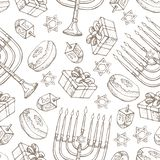Jewish holiday Hanukkah seamless pattern. Set of traditional Chanukah symbols isolated on white - dreidels, sweets. Donuts, menorah candles, star David glowing stock illustration