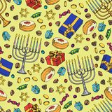 Jewish holiday Hanukkah seamless pattern. Set of traditional Chanukah symbols isolated on white - dreidels, sweets, donuts, menora. H candles, star David glowing stock illustration