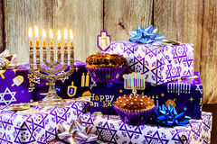 jewish holiday Hanukkah still life composed of elements the Chanukah  festival. Stock Photo