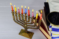 Jewish holiday Hanukkah still life composed of elements the Chanukah festival. A still life composed of elements of the Jewish Chanukah Hanukkah festival Royalty Free Stock Images