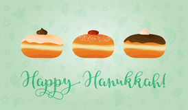 Jewish holiday of Hanukkah, sufganiyot and congratulation. Stock Photo