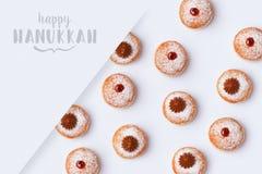 Jewish holiday Hanukkah sufganiyot on white background royalty free stock photo