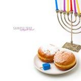 Jewish holiday Hanukkah symbols. On white background