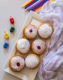 Jewish holiday Hanukkah symbols against white background royalty free stock photography