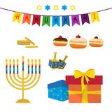 Jewish holiday of Hanukkah, symbols set. Jewish holiday of Hanukkah, Hanukkah menorah, sufganiyot doughnuts, dreidel spinning top, traditional holiday symbols vector illustration