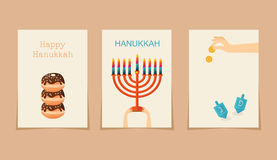 Jewish holiday hanukkah three cards. ( Hebrew letters on a Hanukkah dreidel, which stand for the phrase, A great miracle happened here
