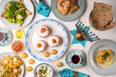 Jewish holiday Hanukkah, traditional feast view from above stock image