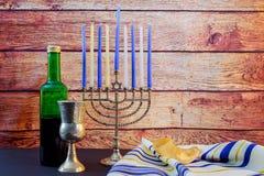 Jewish holiday Hanukkah wine taliit Beautiful menorah Royalty Free Stock Photo