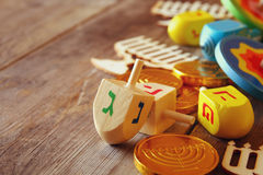 jewish holiday Hanukkah with wooden dreidels colection Royalty Free Stock Photos