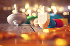 jewish holiday Hanukkah with wooden dreidels colection Royalty Free Stock Photography