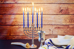 Jewish holiday HanukkahBeautiful Chanukah decorations in blue and silver with gifts Stock Images