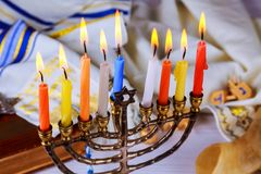 Brightly Glowing Hanukkah Menorah - Shallow Depth of Field. Jewish holiday, Holiday symbol Hanukkah Brightly Glowing Hanukkah Menorah - Shallow Depth of Field Royalty Free Stock Photography