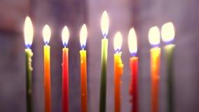 Brightly Glowing Hanukkah Menorah soft focus stock footage