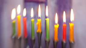 Brightly glowing hanukkah menorah soft focus selective soft focus stock footage