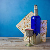 Jewish holiday Passover background with matzo and wine Royalty Free Stock Photo