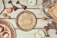 Jewish holiday Passover background with vintage plate. View from above. Stock Images