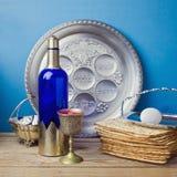 Jewish holiday Passover celebration with matzo and wine stock photos