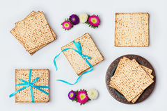 Jewish holiday Passover food for mock up template design. View from above. Royalty Free Stock Image