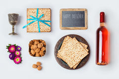 Jewish holiday Passover food and wine for mock up template design. View from above. Royalty Free Stock Photography