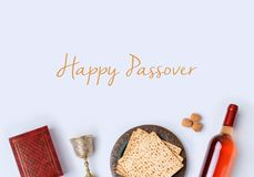 Jewish holiday Passover frame composition Stock Photos