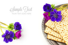 Jewish holiday passover matzo on white background Stock Images