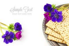 Jewish holiday passover matzo on white background stock images