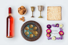Jewish holiday Passover objects for mock up template design. View from above. Royalty Free Stock Image