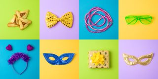 Jewish holiday Purim background with carnival mask, hamantaschen cookies and noisemaker. Minimal concept. Top view from above stock photo