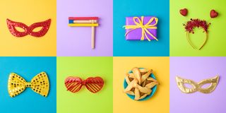 Jewish holiday Purim background with carnival mask, hamantaschen cookies and noisemaker. Minimal concept. Top view from above royalty free stock photos
