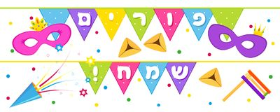 Jewish holiday of Purim, banner with holiday flags. Jewish holiday of Purim, banner with masks, traditional hamantaschen cookies, gragger noise maker, party Royalty Free Stock Images