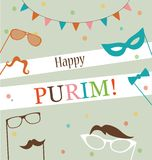 Jewish holiday Purim hipster greeting card design Stock Image