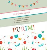 Jewish holiday Purim hipster greeting card design Royalty Free Stock Photos