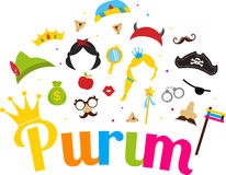 Jewish holiday Purim set of costume accessories. happy purim in hebrew Royalty Free Stock Photo