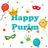 Jewish holiday Purim set. Vector illustration Royalty Free Stock Photos