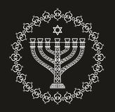 Jewish holiday religious background with menorah. Vector illustration stock illustration