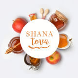 Jewish holiday Rosh Hashana banner design. With honey and apples. View from above. Flat lay stock photo