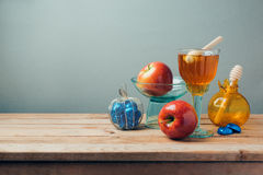 Jewish holiday Rosh Hashana celebration with honey, apples and chocolate Stock Photography