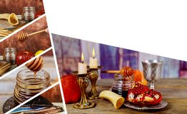 Jewish holiday Rosh Hashana with honey and apples. Shofar and tallit traditional food of jewish New Year celebration. Jewish holiday Rosh Hashana banner design royalty free stock images