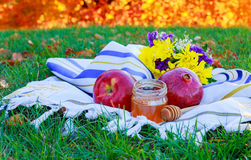 Jewish holiday Rosh Hashana new year celebration. With honey jar and apples Stock Image