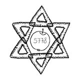 The Jewish holiday of Rosh HaShanah. The apple, 5778 year. The six-pointed star of David. Doodle, hand draw. Vector illustration.  Royalty Free Stock Image