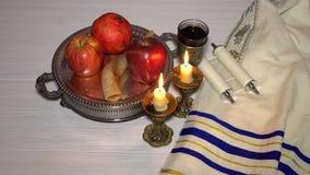 Rosh hashanah jewish New Year holiday concept. stock video
